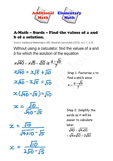 a math surds find the values of a and b of a solution