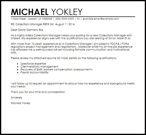 manager resume sample collections manager cover letter sample livecareer