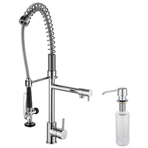 levier de cuisine kraus robinet de cuisine à levier simple et bec amovible et distributeur de savon chrome home