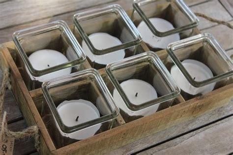 rustic wooden tray   tea light holders