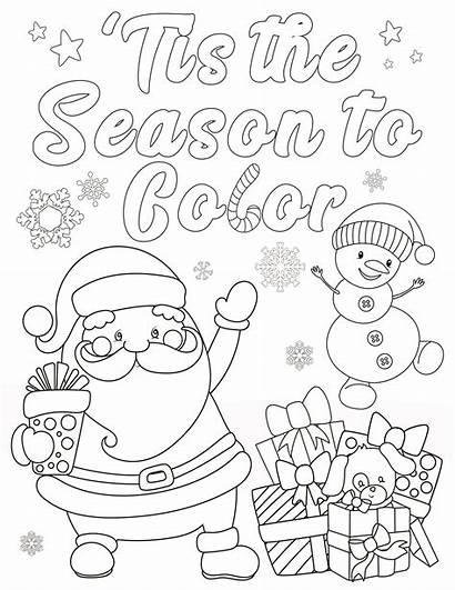 Coloring Christmas Season Tis Fun Presents Santa