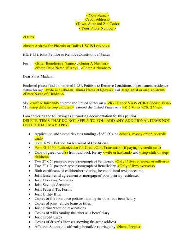 uscis i 751 removal of conditions cover letter exle