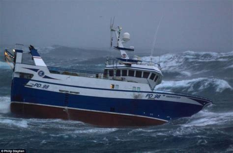 Peterhead Fishing Boat Names north sea trawlermen fishing boat battered by waves as