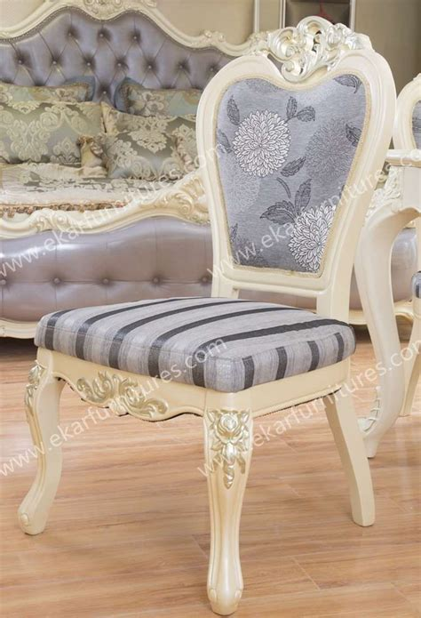 european style upholstered fabric dining chair in purple