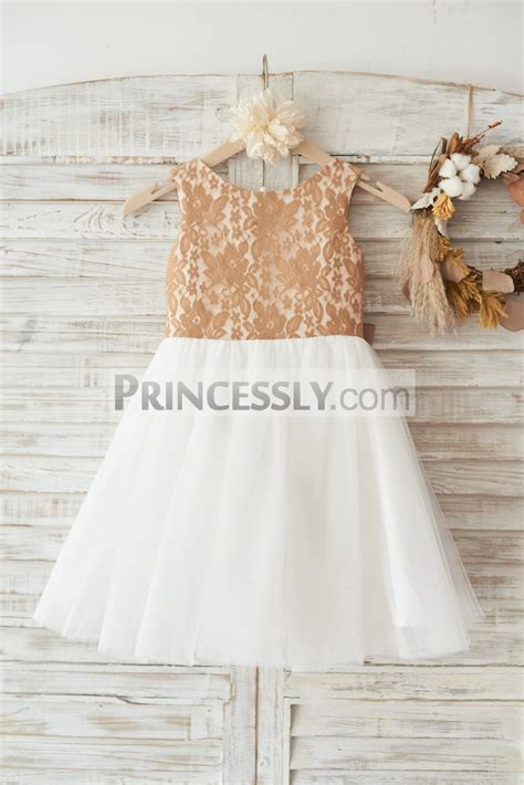 champagne gold lace ivory tulle flower girl dress