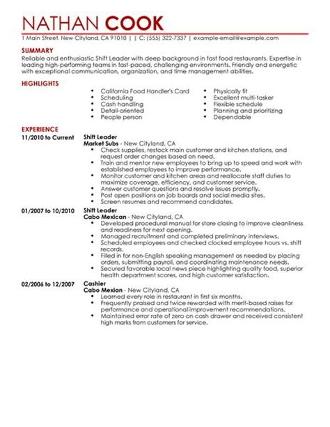 shift leader resume exle restaurant bar sle