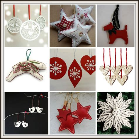 handmade red  white christmas tree decorations