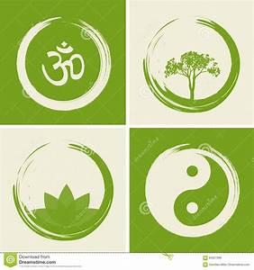 Vector Spiritual Logos Set Illustration With Hindu Word Om