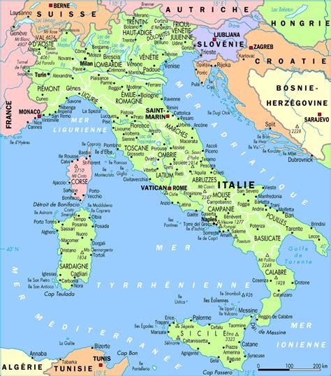 Carte Sud De Et Italie by Tourisme En Italie