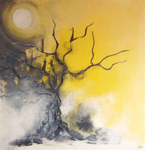 les 226 mes passantes tableau sur toile 80x80 cm peinture acrylique arbre lumi 232 re jaune noir
