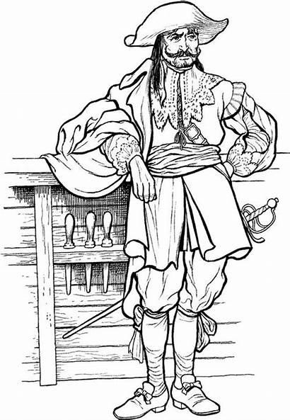 Pirate Pirates 1700s Clipart Captain Coloring John