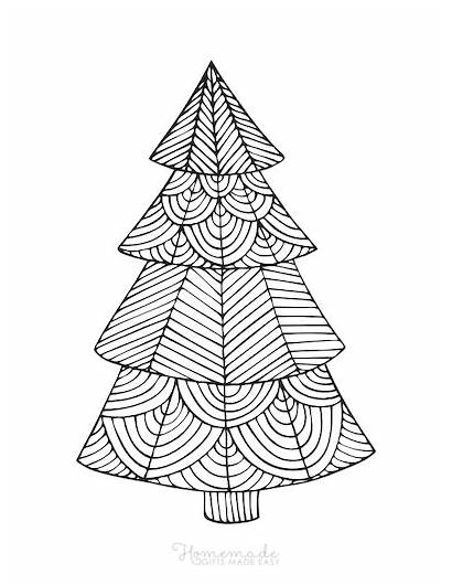 Coloring Christmas Pages Adults Tree Geometric Easy