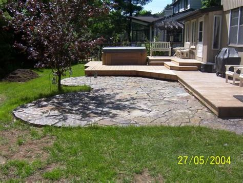 flagstone or other concrete patios are a great