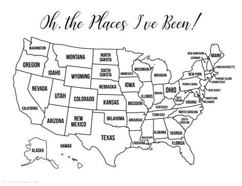 printable bullet journal usa travel map coloring page
