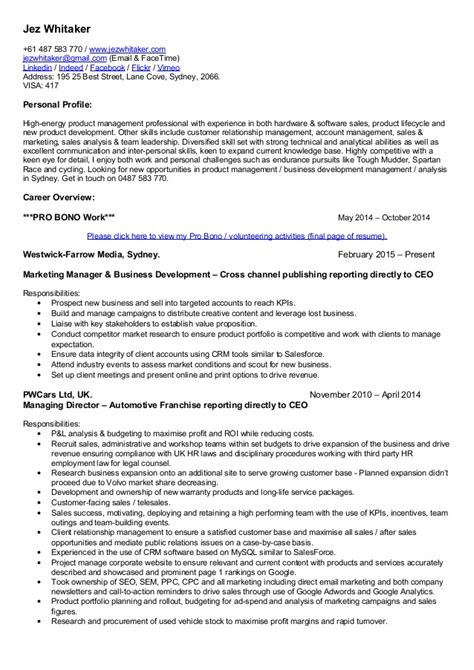 jez whitaker cv sales product management marketing and