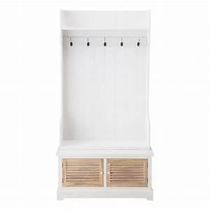 meuble d39entree avec 5 pateres en bois blanc l 96 cm With meuble entree maison du monde