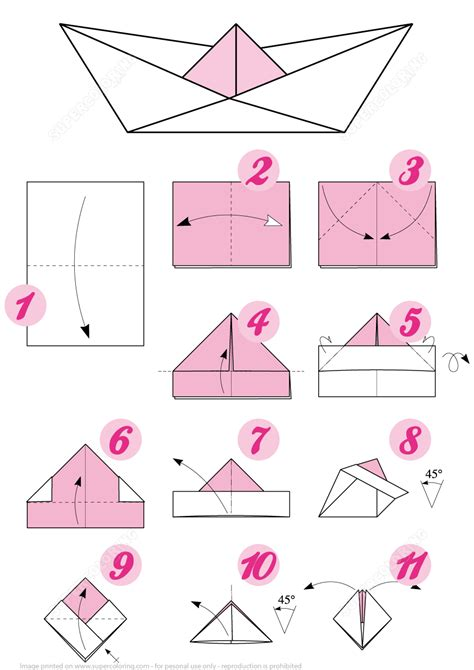 Origami Boat Steps by Origami Boat Free Printable Papercraft