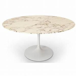 Table Ronde En Marbre : tables tables et chaises table ronde de repas design tulipe plateau en marbre gris beige ~ Mglfilm.com Idées de Décoration