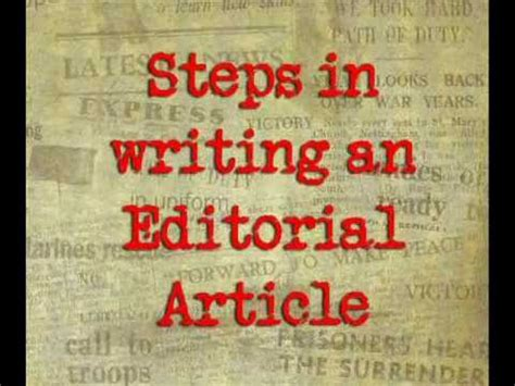 write  editorial article youtube