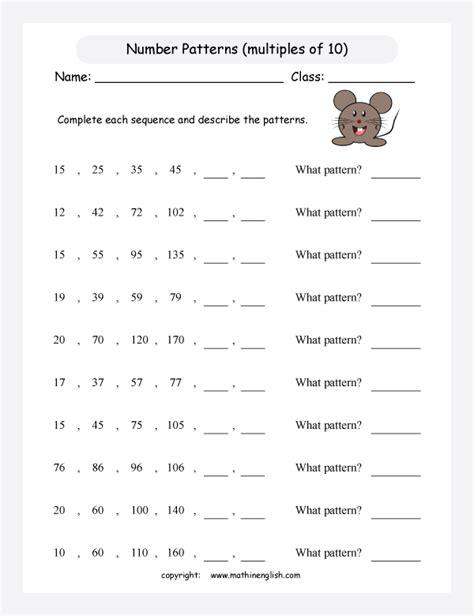 complete  number pattern worksheet  numbers