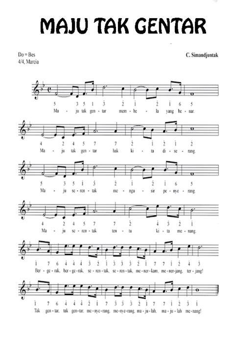 not angka satu nusa lirik lagu maju tak gentar beserta not angka dan baloksitename