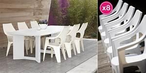Salon De Jardin Polypropylène : salon de jardin table new york blanche 8 fauteuils ibiza fuchsia r sine polypropyl ne ~ Carolinahurricanesstore.com Idées de Décoration