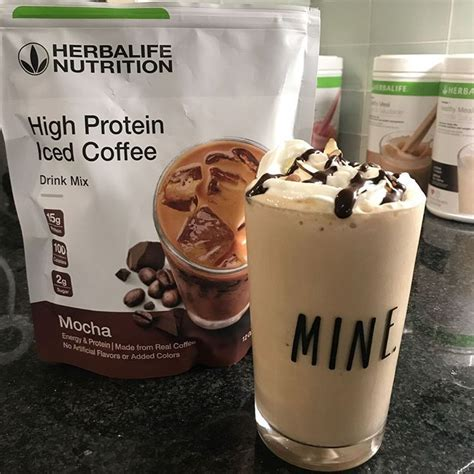 Herbalife nutrition high protein iced coffee mocha everything. Goood morning! My shake today is too good! I did cookies and cream with vanilla protein a ...