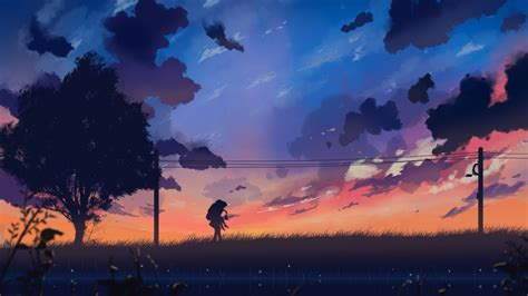 Download 3840x2160 Anime Landscape, Windy, Tree, Painting