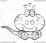 Lizard Gecko Cute Cartoon Sleeping Clipart Coloring Outlined Vector Cory Thoman Illustration sketch template