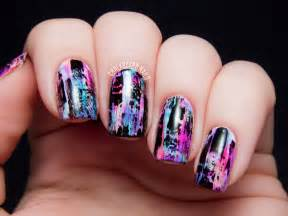 world of nail design tutorial distressed nail grungy effect chalkboard nails nail