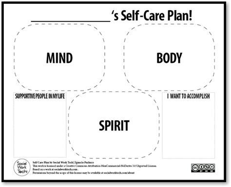 Self Care Plan Template by Self Care 101 Gsafe