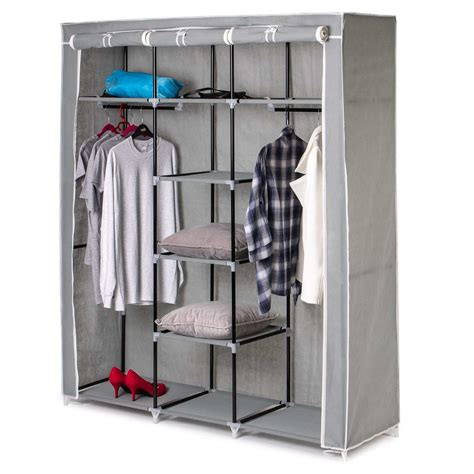 Foldable Cupboard by Large Grey Canvas Wardrobe Foldable Clothes Cupboard
