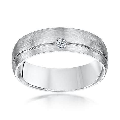 palladium court shape diamond 6mm wedding ring