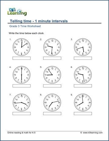 grade 3 telling time worksheet read the clock 1 minute intervals k5 learning