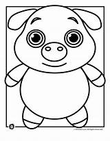 Pig Coloring Pages Animal Cute Template Templates Outline Pot Colouring Printable Sheet Face Drawing Pigs Animals Bellied Funny Teens Wild sketch template