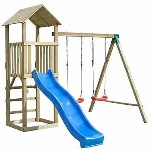 Balancoire Et Toboggan : balan oire portique enfant aire de jeux en bois ~ Melissatoandfro.com Idées de Décoration