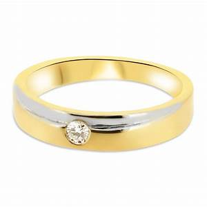 18ct yellow gold and white gold 4mm band with round With white gold and gold wedding rings