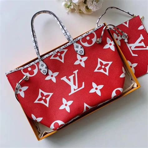 louis vuitton red monogram canvas neverfull mm bag   tino