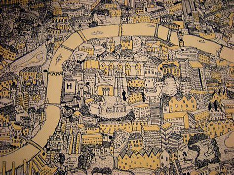silk screen hand drawn map  london mapping london