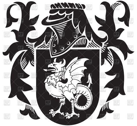 heraldic basilisk  knightly coat  arms vector stock