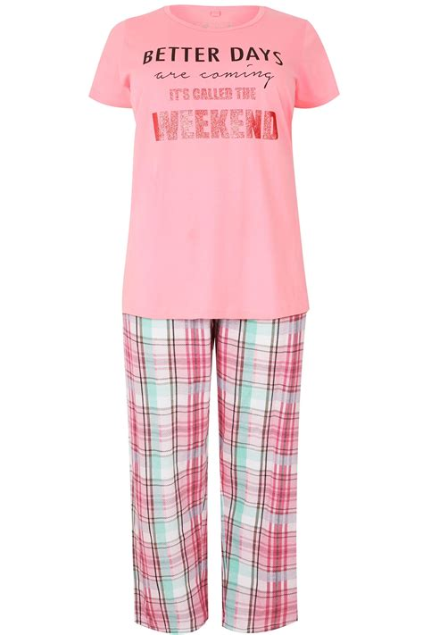 c add to container with templates pink slogan check print pyjama set plus size 16 to 36