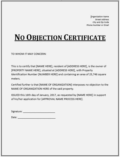 objection certificate templates  printable