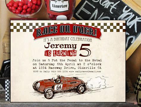 vintage racing car boys party birthday invitations