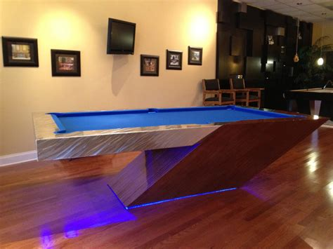 cantilever pool table eclectic family room tampa