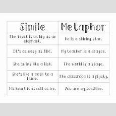 Simile Metaphor Sort By Room One Rules  Teachers Pay Teachers
