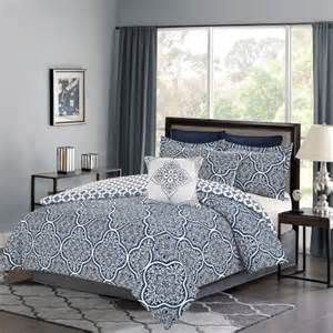 bedding comforter 7 piece king size bed set navy blue and white medallion walmart com