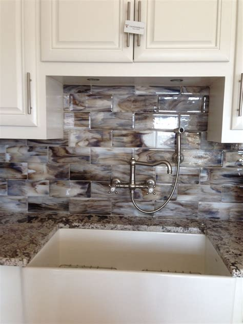 fused glass streaky brown subway tile  kitchen