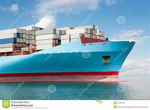 Front Part Of A Large Container Ship Stock Photo - Image ...