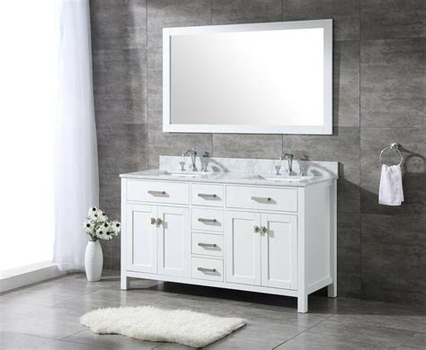 All Wood High-end 60-inch White Shaker Double Bathroom