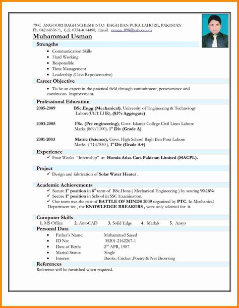 Resume Pattern by 5 Cv Patterns For Freshers Theorynpractice